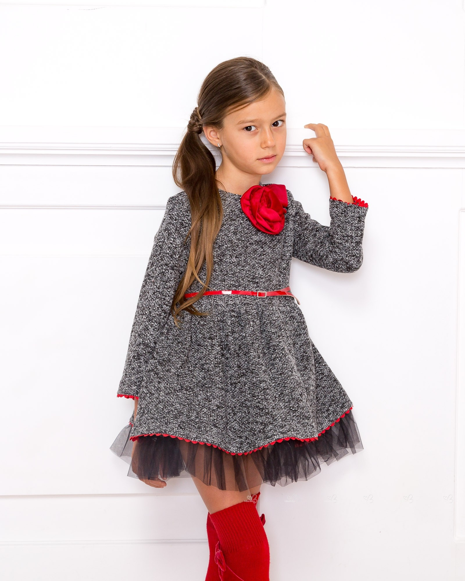 Nekenia vestido punto melange con mo a cintur n rojo missbaby - Monalisa moda infantil ...
