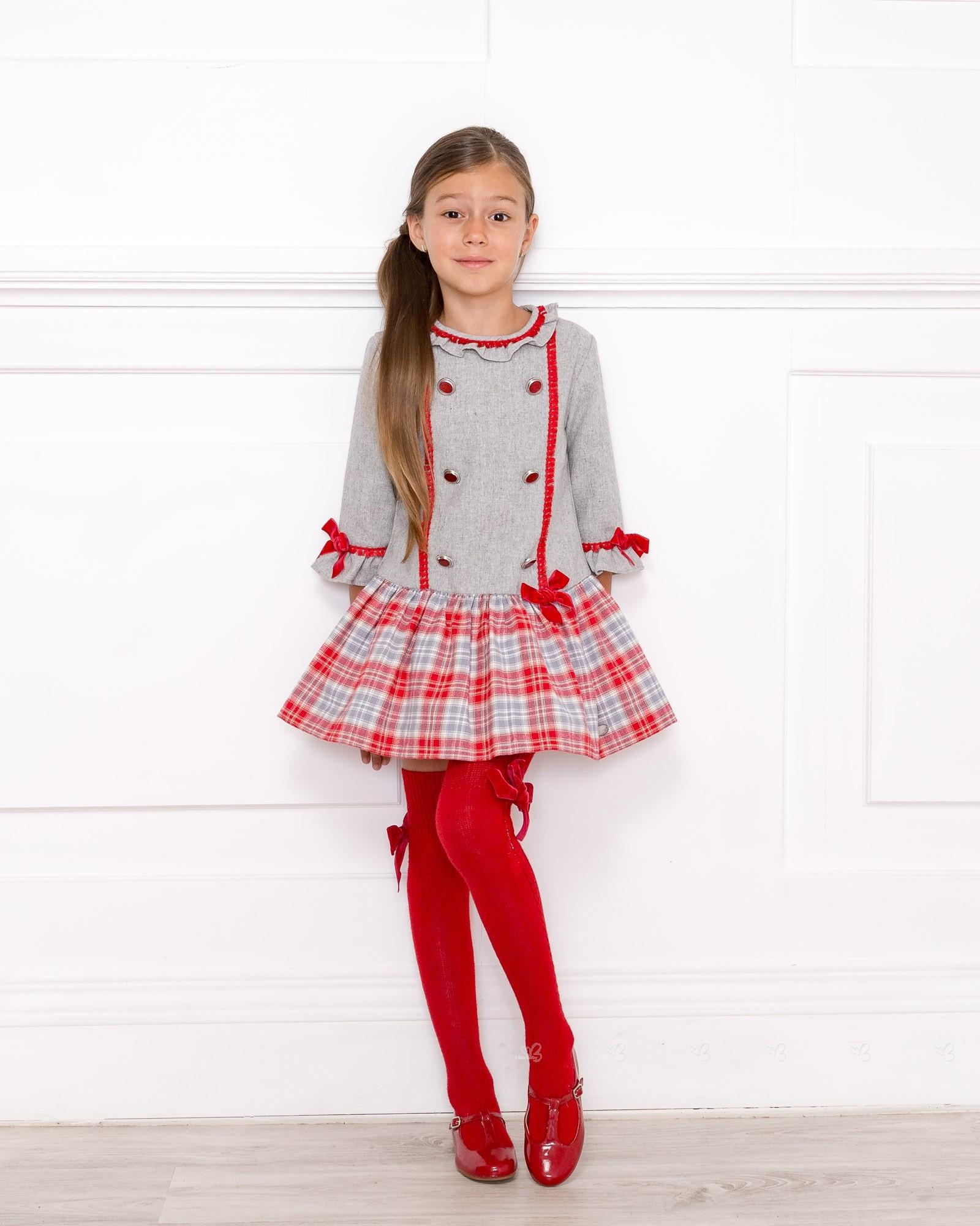 Outfit Vestido Gris Cuadros Rojos Con Calzas Rojas Missbaby