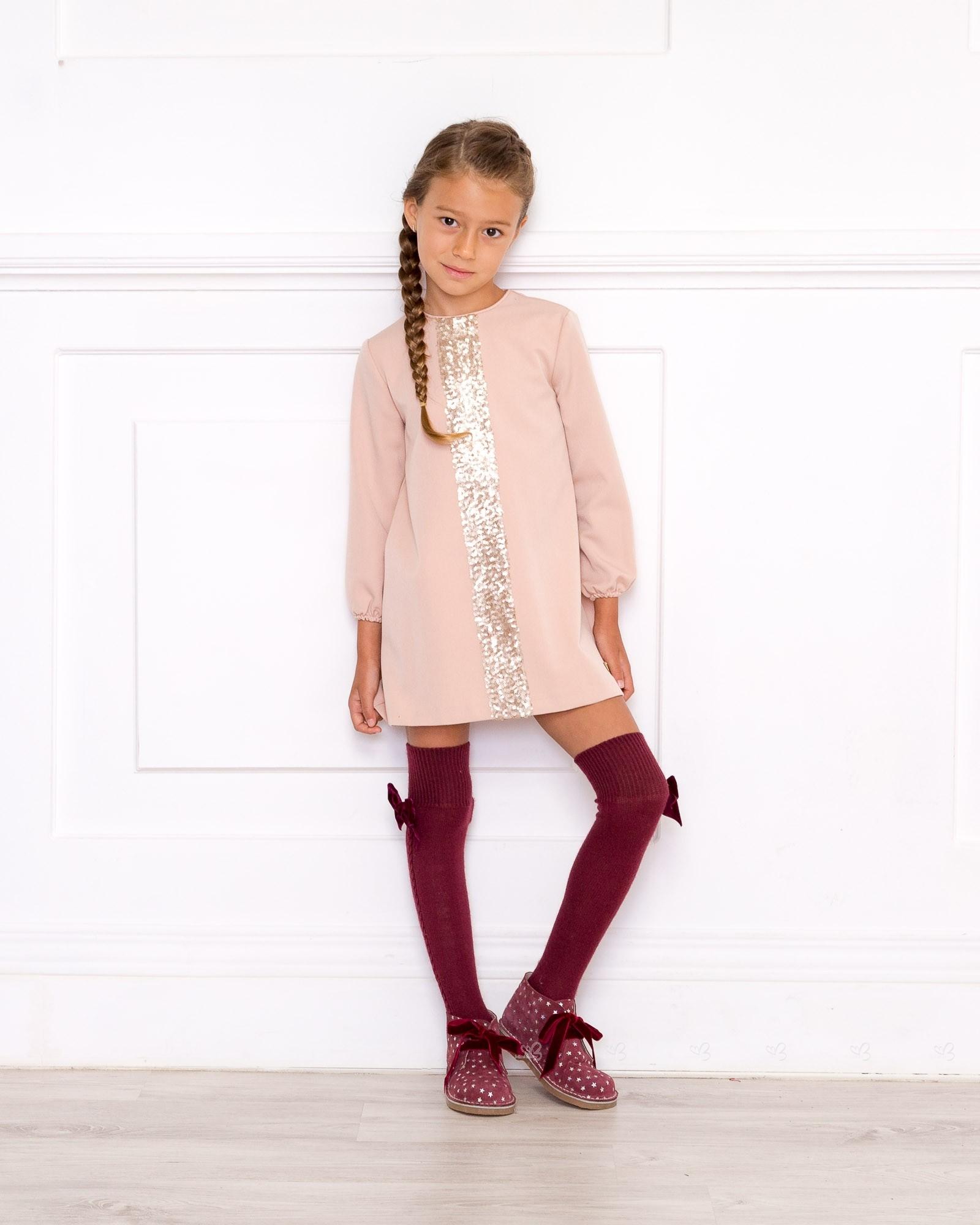 Vestido rosa empolvado lentejuelas eve children y botines - Color rosa empolvado ...