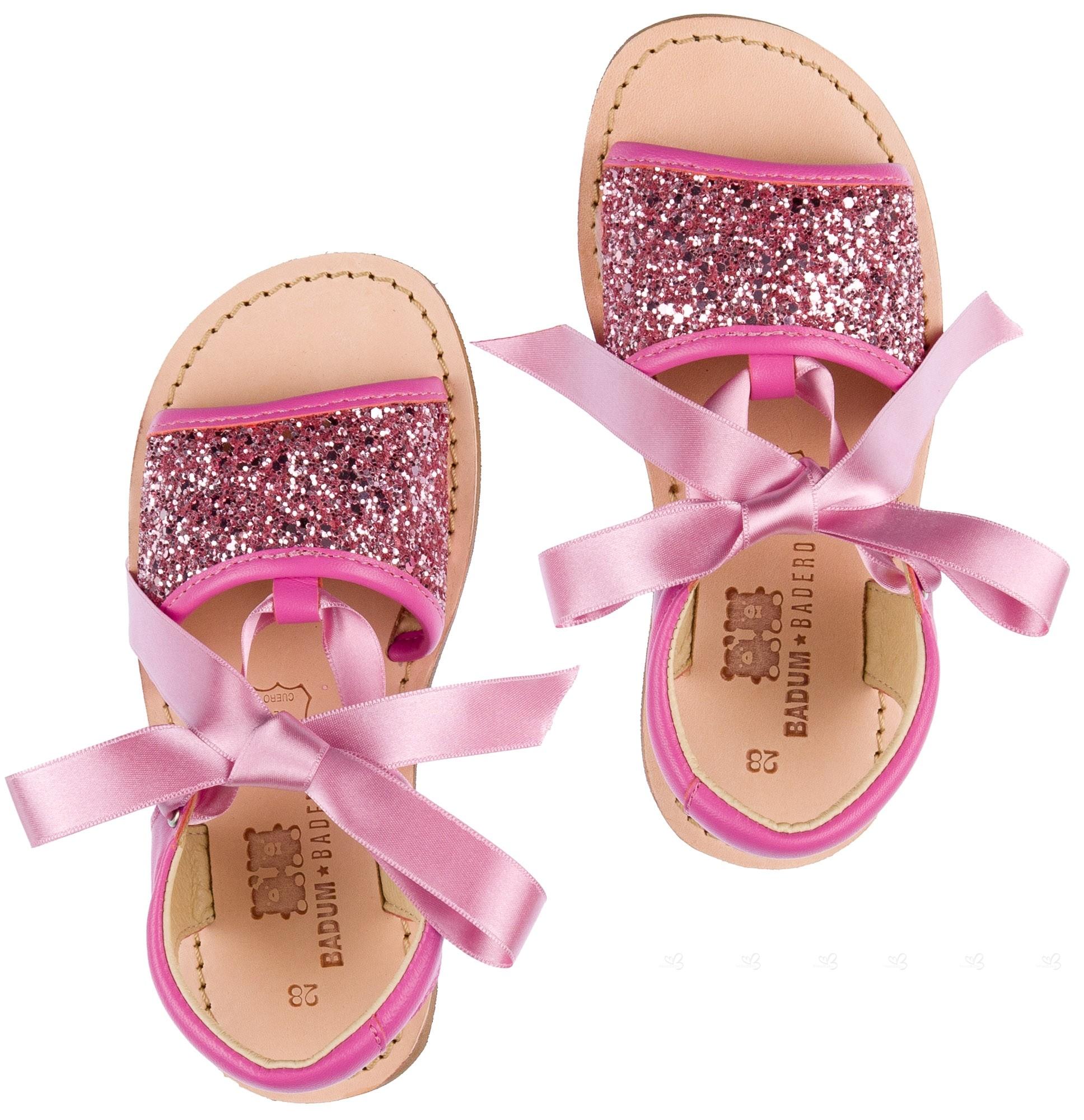 Niña Cinta Raso Con Sandalias Glitter Pielamp; Rosa nw0POk