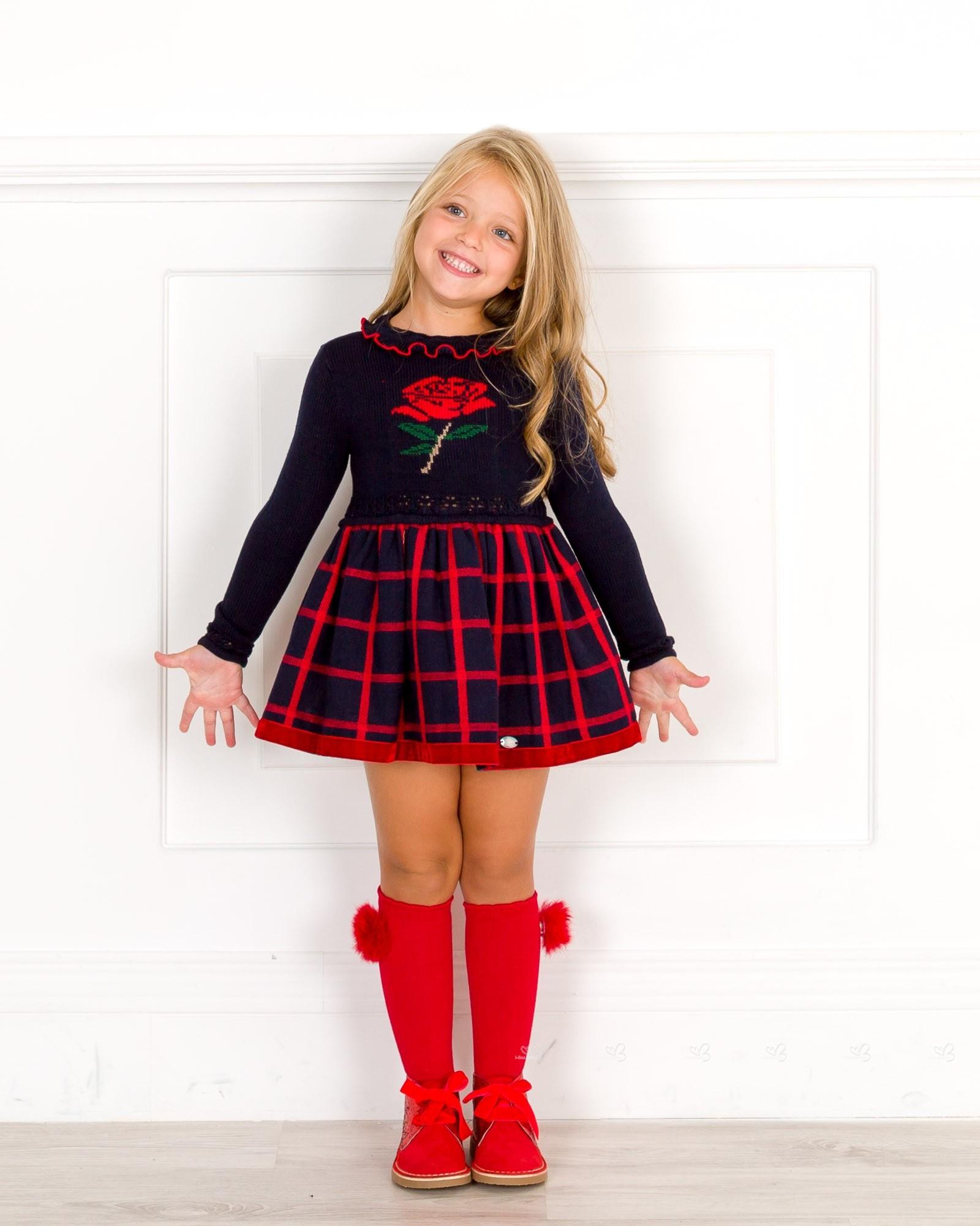... Dolce Petit Vestido Niña Cuerpo Punto Flor Rosa   Falda Cuadros Marino  ... ef50a87e9e56