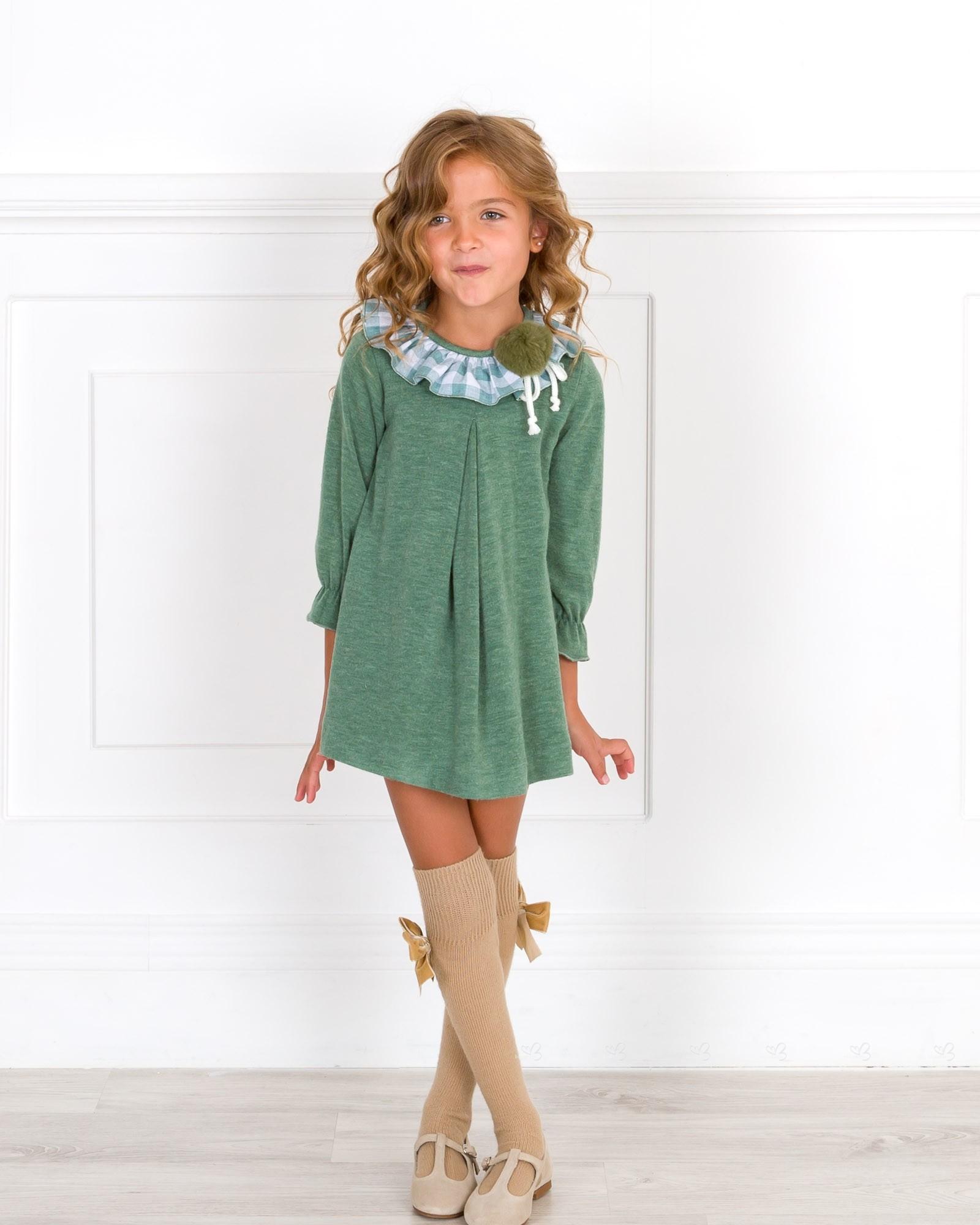 Vestido Niña Punto Verde Cuello Volante Vichy