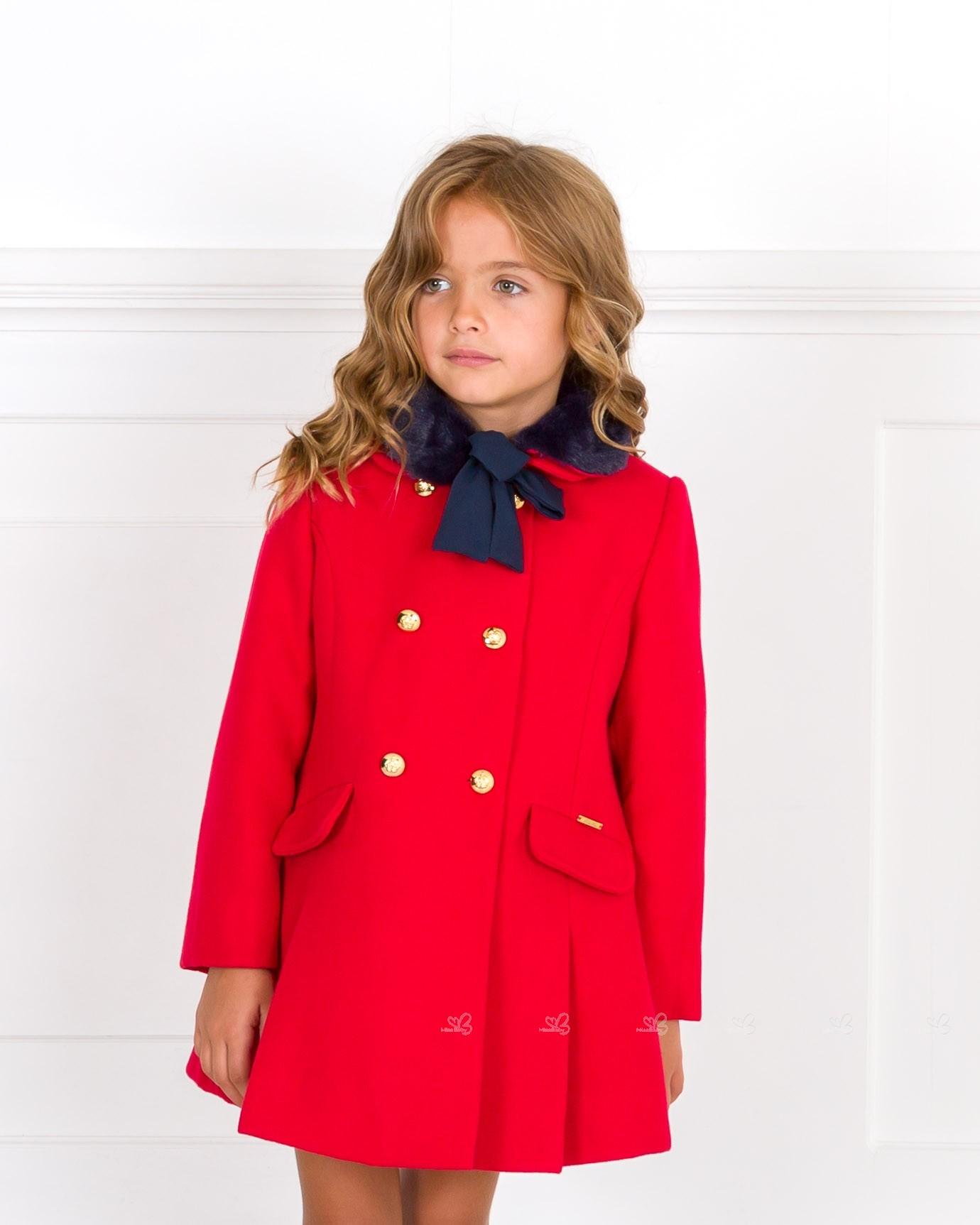 ... Dolce Petit Abrigo Niña Paño Rojo   Cuello Pelo Sintético Marino ... 9f32ac7f615