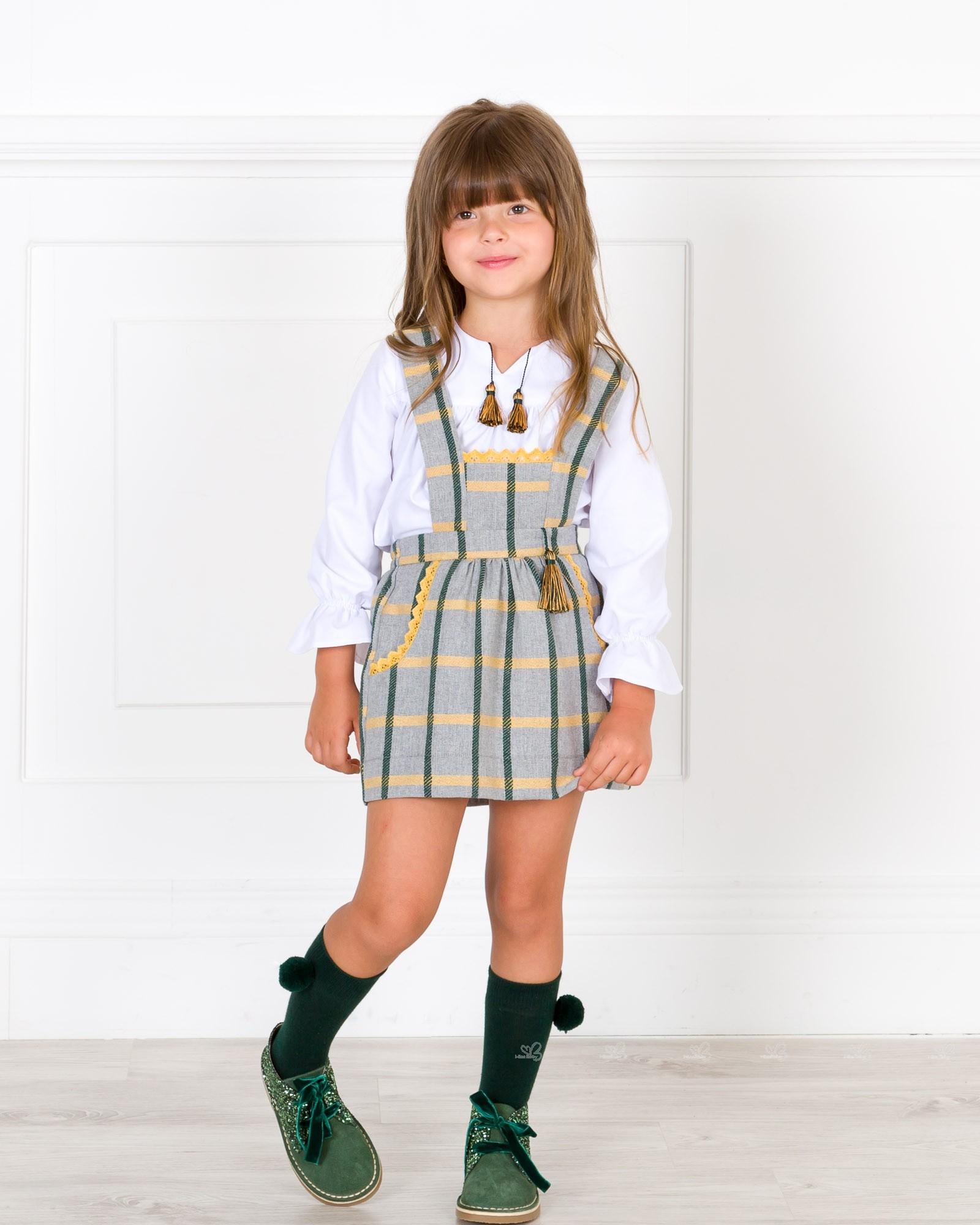 98a5a99af Cocote Conjunto Niña Blusa Blanca & Falda Peto Cuadros Gris | Missbaby