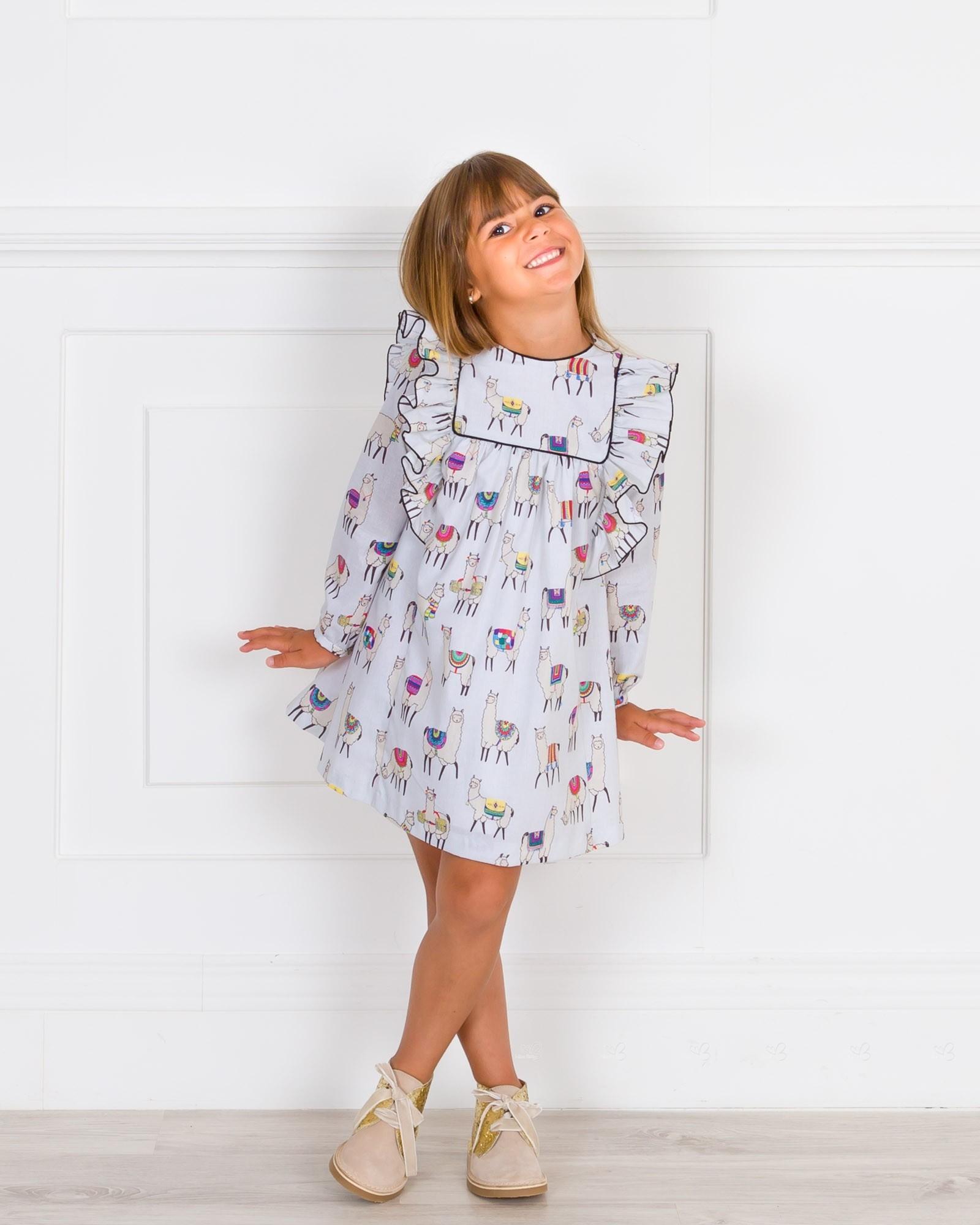 ... Mon Petit Bonbon Vestido Niña Estampado Llamas Gris ... 706a2073b054