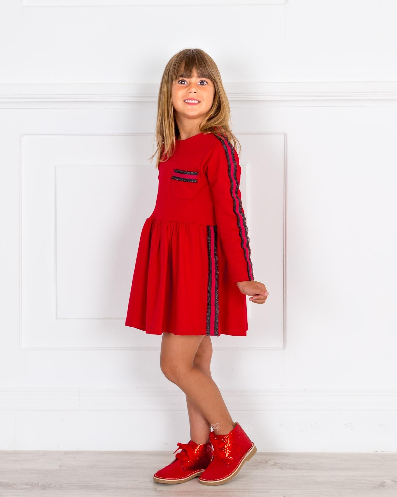 66a2521081 ... Mon Petit Bonbon Vestido Niña Rojo   Franja Rayas Lurex Negro ...