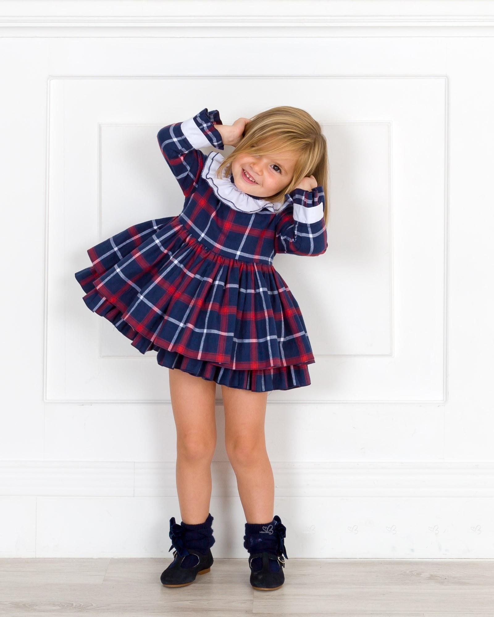 cc825810f9 Outfit Niña Vestido Cuadros Azul   Rojo ...