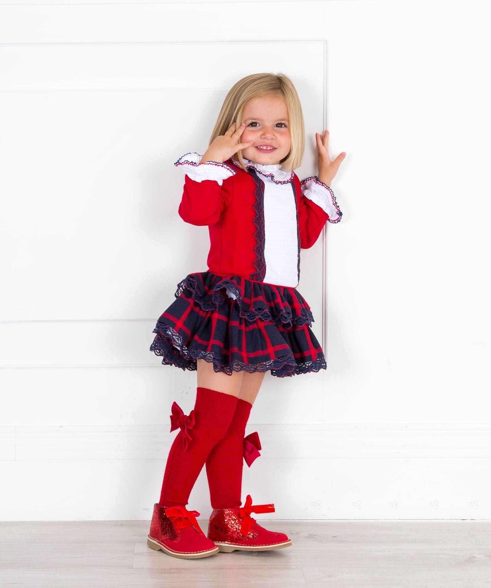 ... Dolce Petit Vestido Niña Cuerpo Rojo   Falda Volantes Cuadros Marino ... bcdee78a13f2