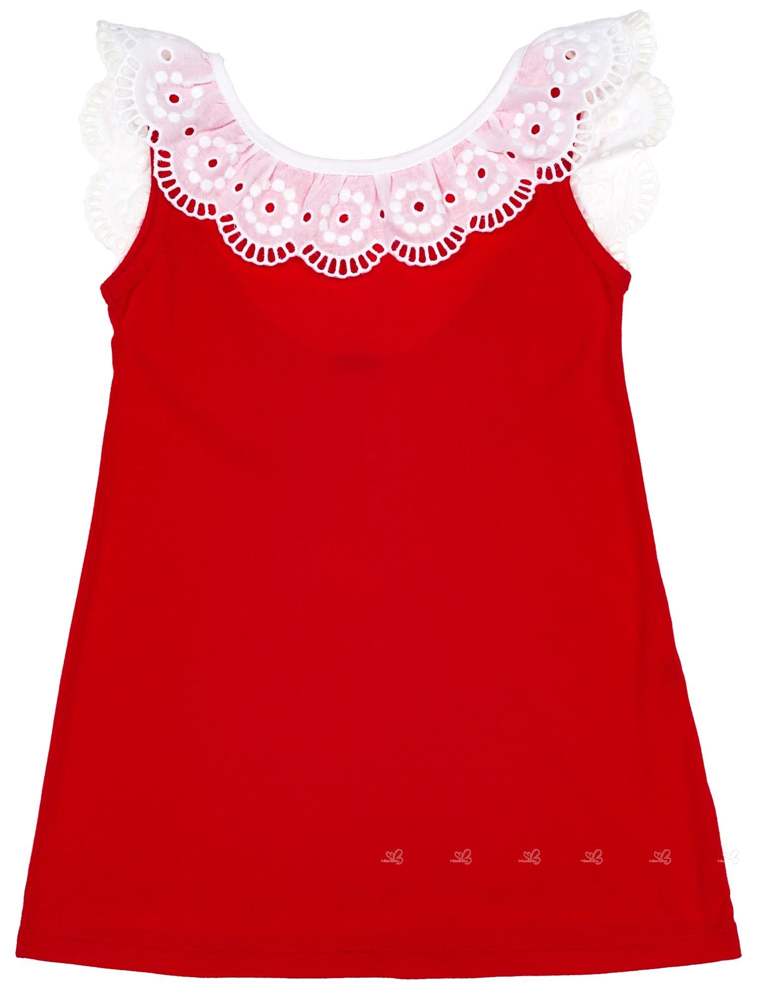 Vestido Niña Baño Algodón Cuello Volante Puntilla Rojo
