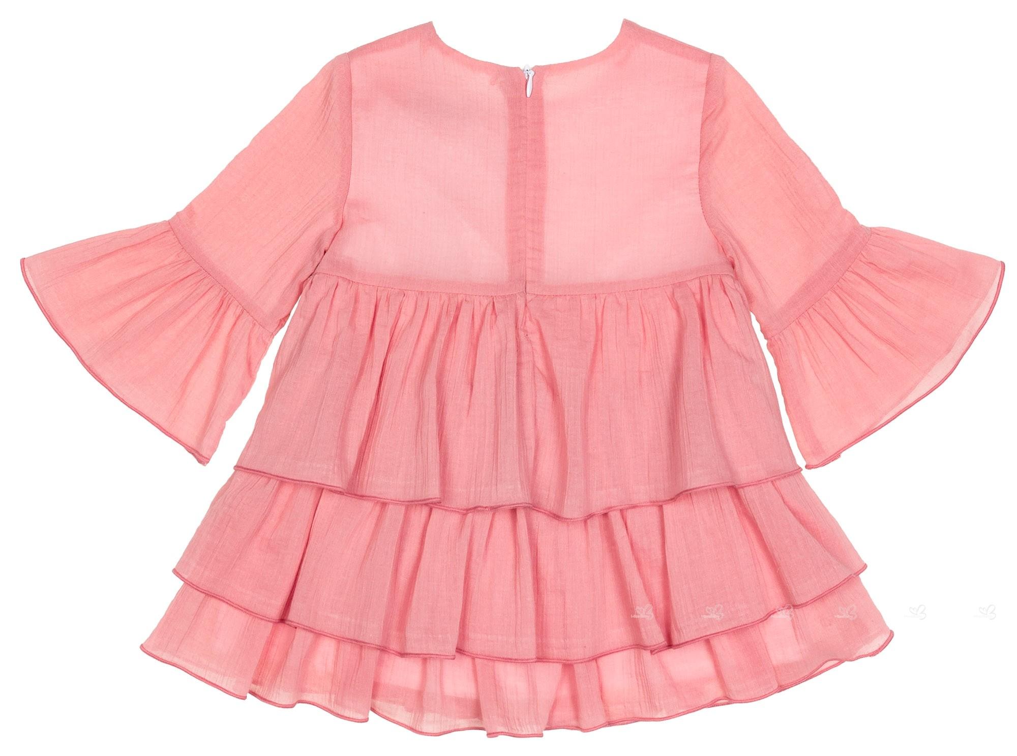 Eve children vestido manga francesa volantes bambula - Color rosa empolvado ...