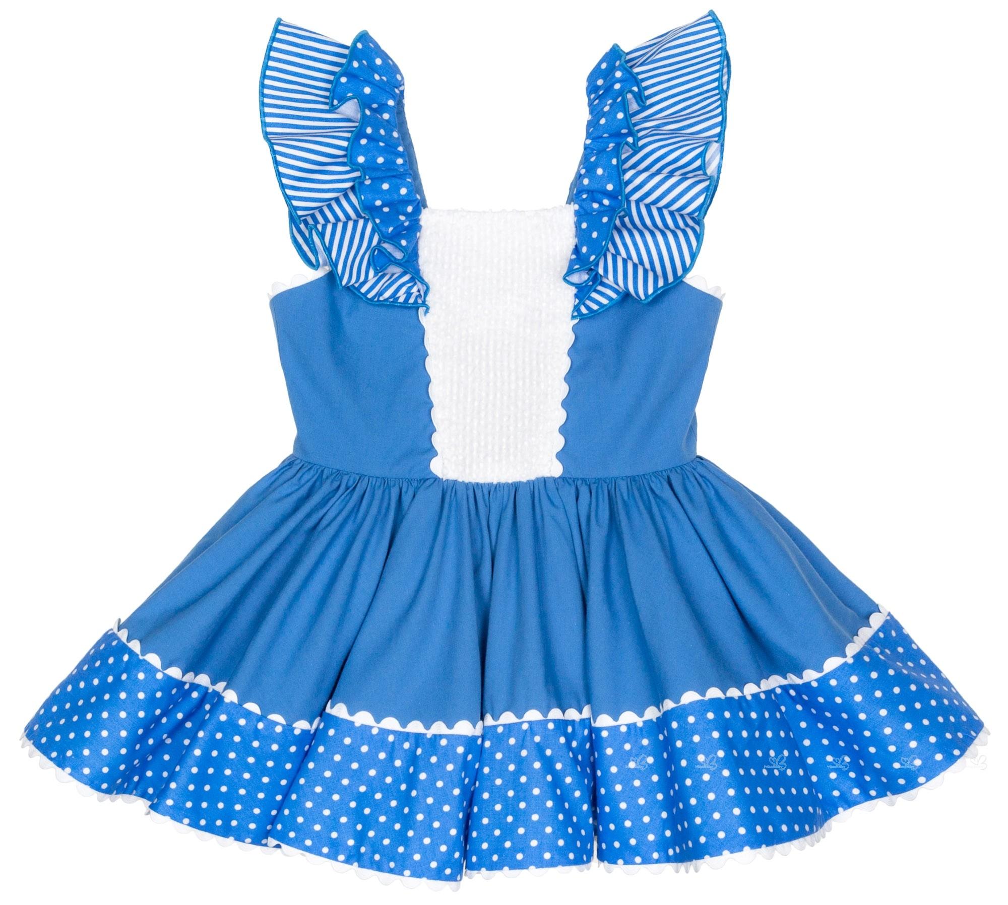 Vestido Niña Lazo Espalda Topitos Azul Blanco