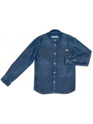 Camisa Niño Efecto Desgastado & Cuello Mao Denim Azul