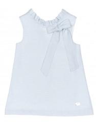 Vestido Cuello Volantito & Lazo Azul Empolvado & Plateado