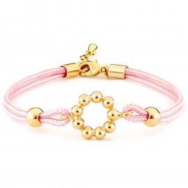 Pulsera Niña Doble Cordón Seda Rosa con Circunferencia Chapada en Oro