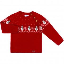Jersey Niño Punto Rojo con Copos & Muñecos Nieve