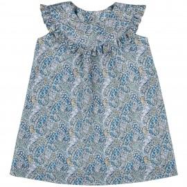 Vestido Niña Cuello Babero & Volante Cachemir Azul