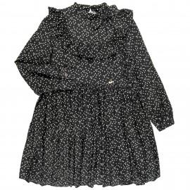 Vestido Niña Estampado Corazones Marfil & Cuello Babero Negro