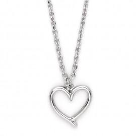 Collar con Cadena Chapada en Plata & Colgante Corazón