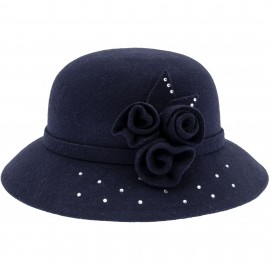 Sombrero Niña Fieltro Azul Marino con Flores & Glitter