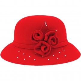 Sombrero Niña Fieltro Rojo con Flores & Glitter