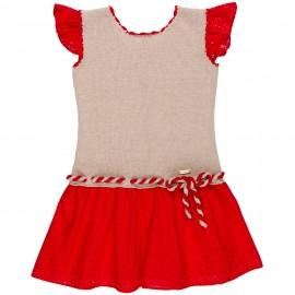 Vestido Niña Combinado Punto Beige & Perforado Rojo
