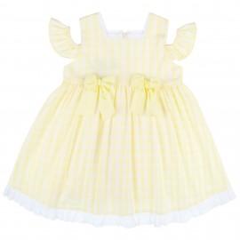 Vestido Niña Hombro Descubierto Vichy Amarillo & Blanco