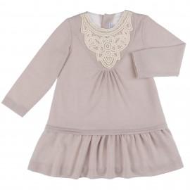 Vestido Punto Beige & Cuello Crochet Crudo