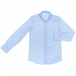Camisa Niño Manga Larga Topitos Azul & Blanco
