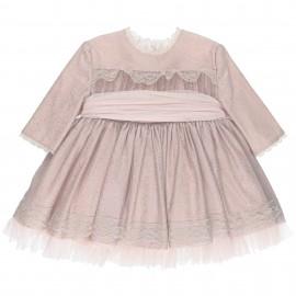 Conjunto Niña Vestido Rosa Palo & Tul Plateado