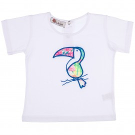 Camiseta Niño Blanca con Tucán Bordado Azul