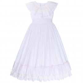 Vestido Niña Comunión Plumeti Blanco & Rosa con Volantes