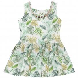 Vestido Niña Estampado Tropical con Lazos Espalda & Collar