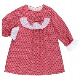 Vestido Bebé Lunares Rojo & Puntilla Bordada Blanca