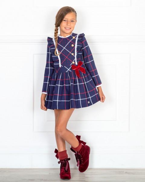 Outfit Niña Vestido Cuadros Marino & Rojo & Botines Terciopelo Granate