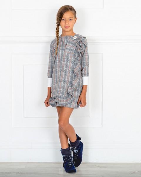 Outfit Niña Vestido Evasé Cuadros Príncipe de Gales Gris & Botines Terciopelo Azul Marino