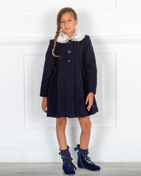 Outfit Niña Abrigo Pelo Sintético Rizado Azul Marino & Botines Terciopelo Azul Marino