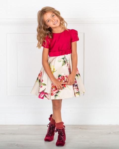 Outfit Niña Vestido Tafetán Estampado Floral Frambuesa & Botines Terciopelo Granate