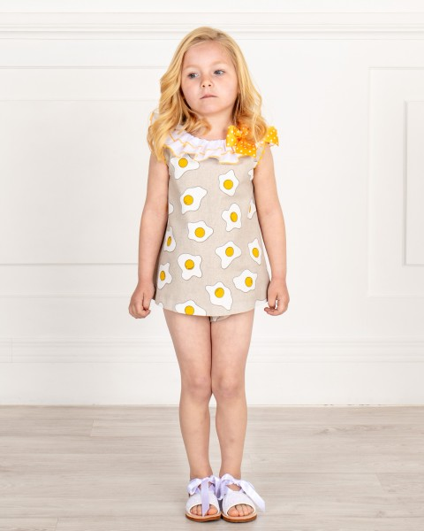 Baby Girls Yellow & Beige Fried Eggs 2 Piece Shorts Set & Beige & White Glitter Sandals Outfit