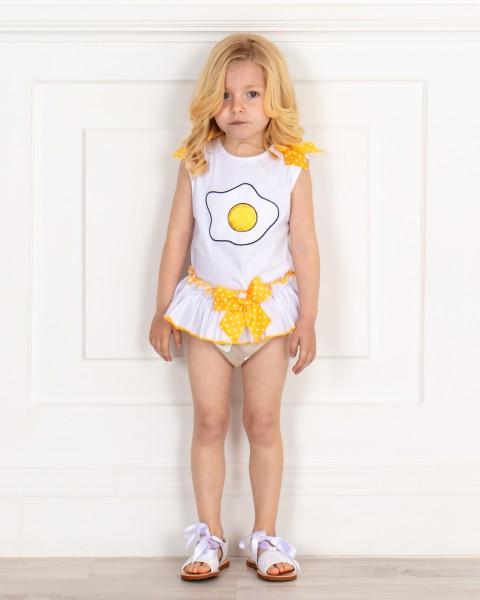 Outfit Niña Conjunto Camiseta & Braguita Volante Huevos & Sandalias Glitter Blanco con Cinta Raso