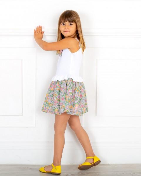 Outfit Niña Vestido Combinado Punto Blanco & Estampado Floral Verde & Sandalia Piel Amarillo