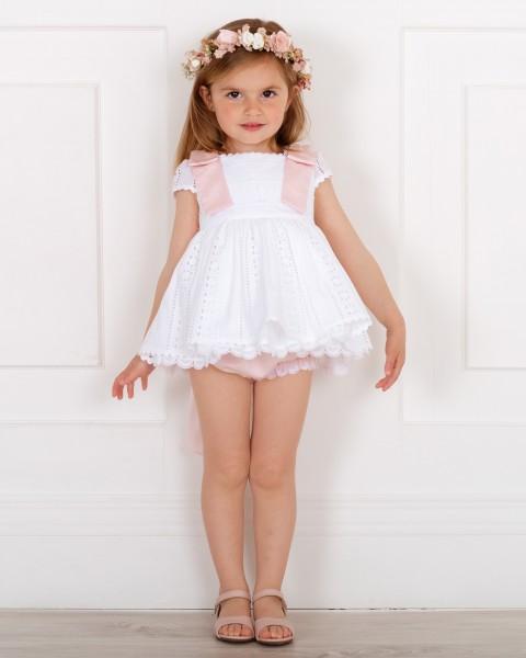 Outfit Niña Niña Algodón Perforado Blanco & Lazos Lunares & Sandalia Rosa & Corona Flores