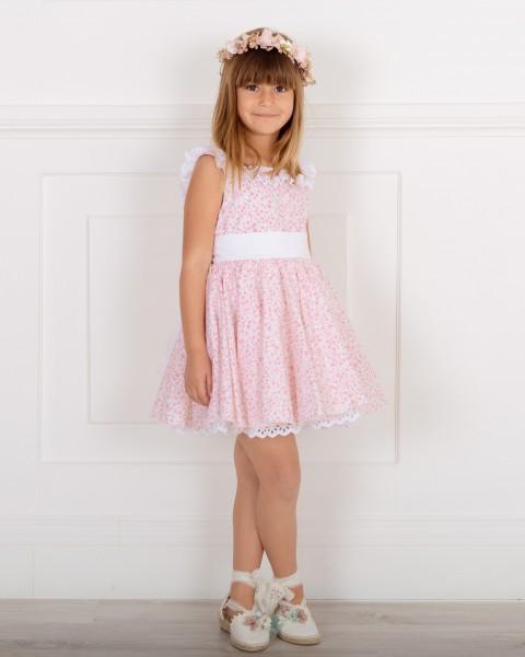 Outfit Niña Vestido Vuelo Estampado Liberty Rosa & Maxi Lazada Blanca & Sandalia Rosa