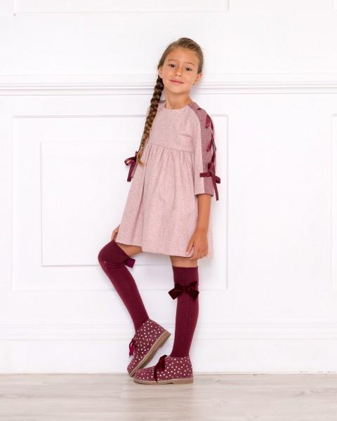 Outfit Vestido Mia Granate & Abrigo Rosa