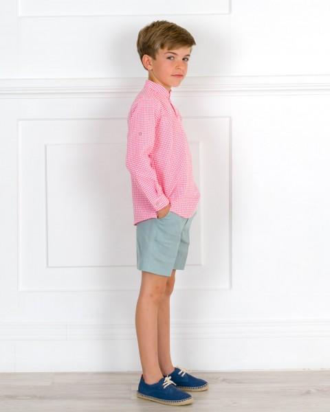 Outfit Niño Conjunto Camisa Vichy Coral & Short Lino Verde & Alpargatas Cordones Piel Azul