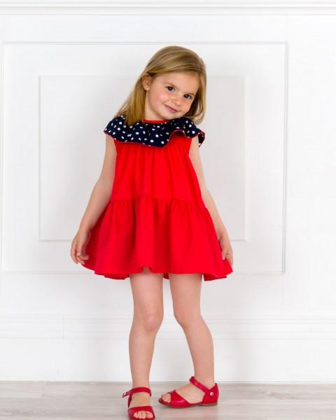 Outfit Niña Vestido Rojo & Cuello Volante Lunares Marino & Sandalia Piel Rojo