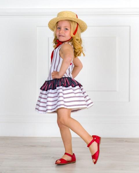 Outfit Niña Vestido Espalda Cruzada Rayas Marino & Rojo & Sandalia Amelia Piel Rojo