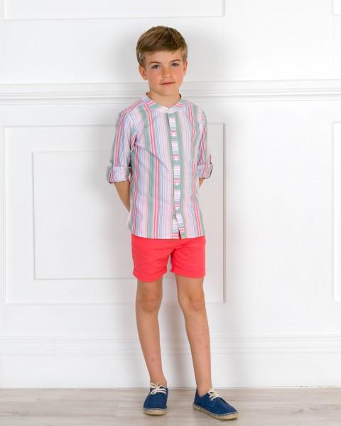 Outfit Niño Conjunto Lino Camisa Rayas & Short Coral & Alpargatas Cordones Piel Azul