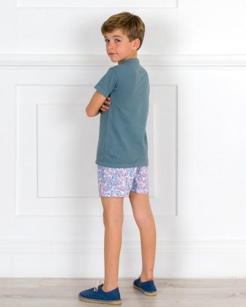 Outfit Niño Polo Manga Corta Azul Verdoso & Boxer Cachemir Azul & Alpargatas Piel Serraje Azul
