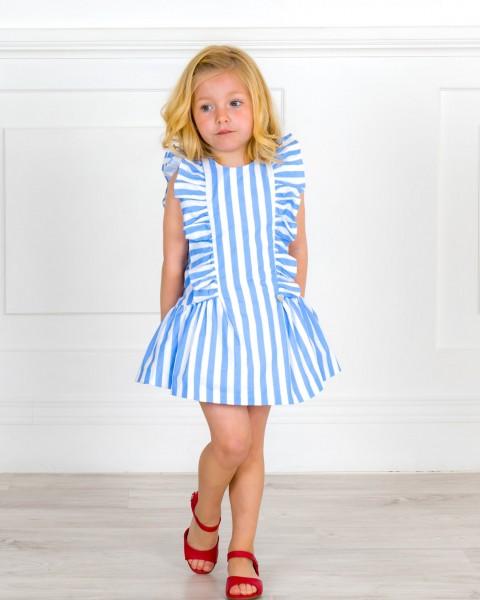 Outfit Niña Vestido Algodón Orgánico Rayas & Espalda Corazón Azul & Sandalia Piel Rojo