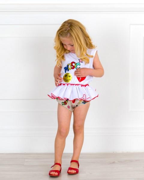 Outfit Bebé Conjunto Camiseta Lentejuelas Reversibles & Braguita Graffiti & Sandalia Piel Rojo